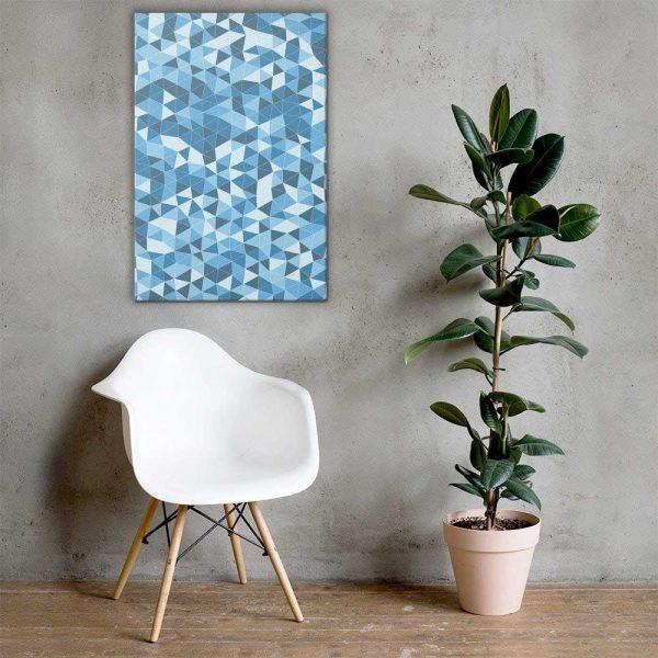 Blue Triangles Geometric Wall Art Mockup