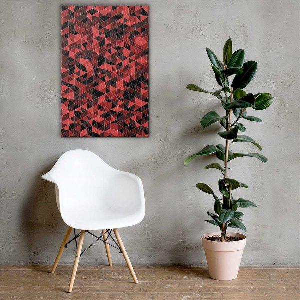 Dark Red Triangles Geometric Wall Art Mockup
